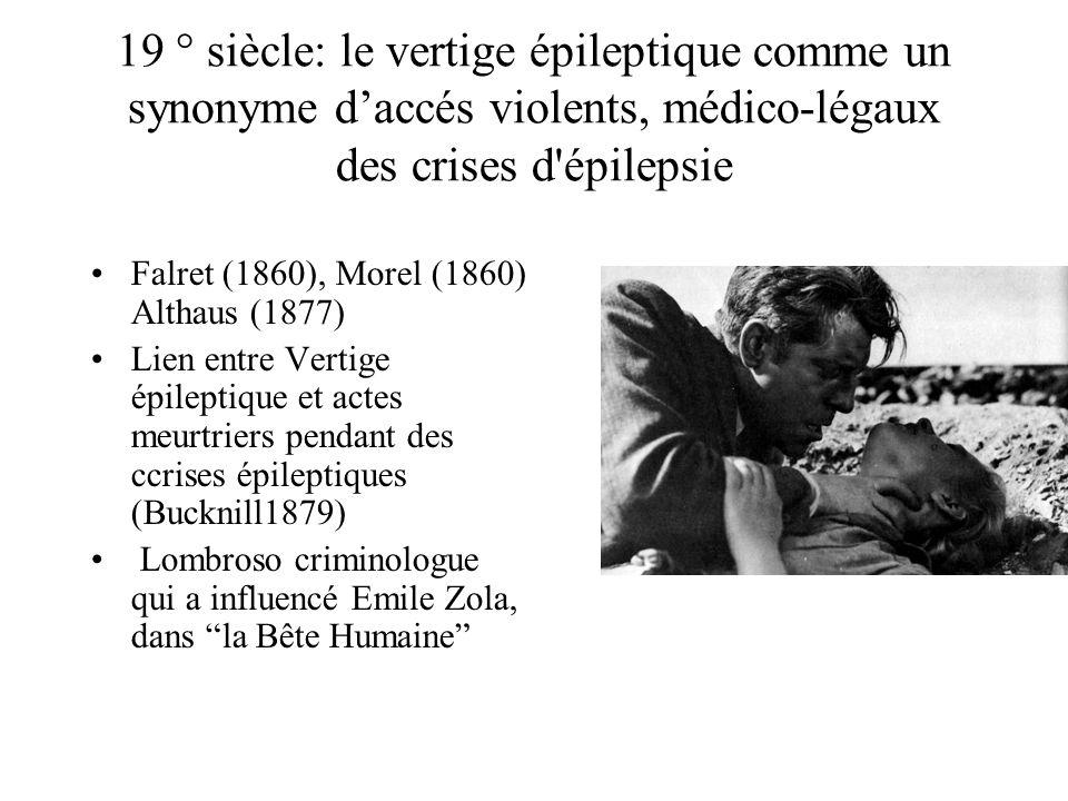 19 ° siècle: le vertige épileptique comme un synonyme daccés violents, médico-légaux des crises d épilepsie Falret (1860), Morel (1860) Althaus (1877) Lien entre Vertige épileptique et actes meurtriers pendant des ccrises épileptiques (Bucknill1879) Lombroso criminologue qui a influencé Emile Zola, dans la Bête Humaine