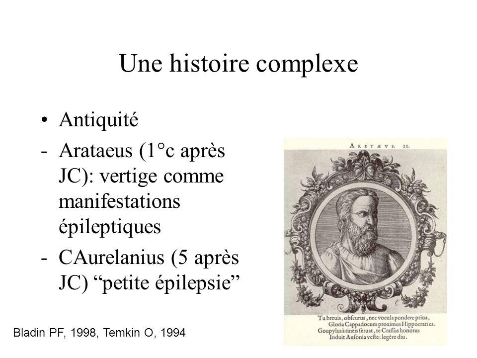 Une histoire complexe Antiquité -Arataeus (1°c après JC): vertige comme manifestations épileptiques -CAurelanius (5 après JC) petite épilepsie Bladin PF, 1998, Temkin O, 1994