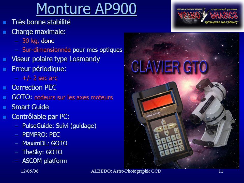 12/05/06ALBEDO: Astro-Photographie CCD11 Monture AP900 Monture AP900 n Très bonne stabilité n Charge maximale: –30 kg, donc –Sur-dimensionnée pour mes