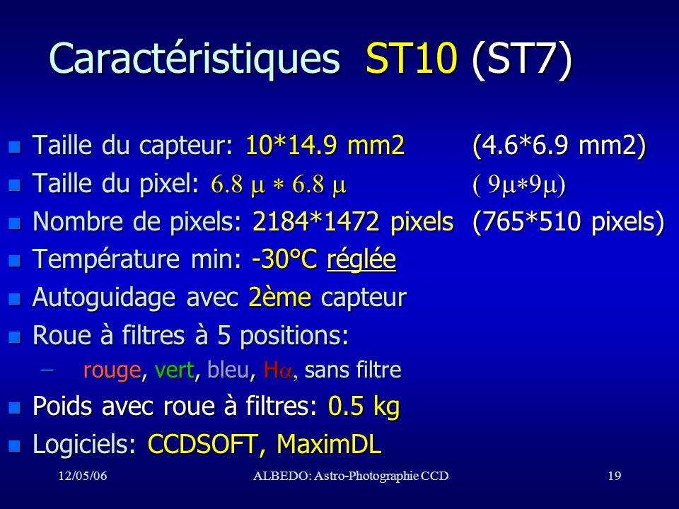 12/05/06ALBEDO: Astro-Photographie CCD19 Caractéristiques ST10 (ST7) n Taille du capteur: 10*14.9 mm2 (4.6*6.9 mm2) Taille du pixel: Taille du pixel: