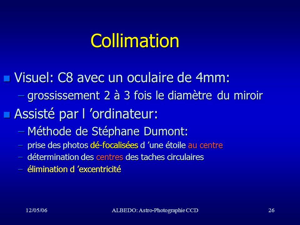 12/05/06ALBEDO: Astro-Photographie CCD26 Collimation n Visuel: C8 avec un oculaire de 4mm: –grossissement 2 à 3 fois le diamètre du miroir n Assisté p