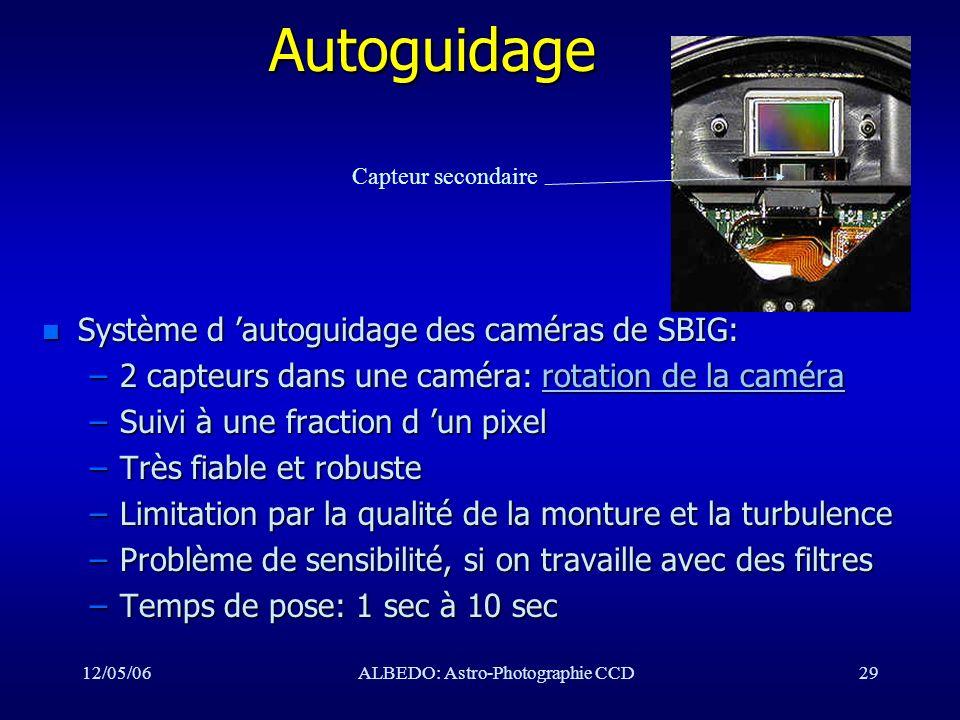 12/05/06ALBEDO: Astro-Photographie CCD29Autoguidage n Système d autoguidage des caméras de SBIG: –2 capteurs dans une caméra: rotation de la caméra ro