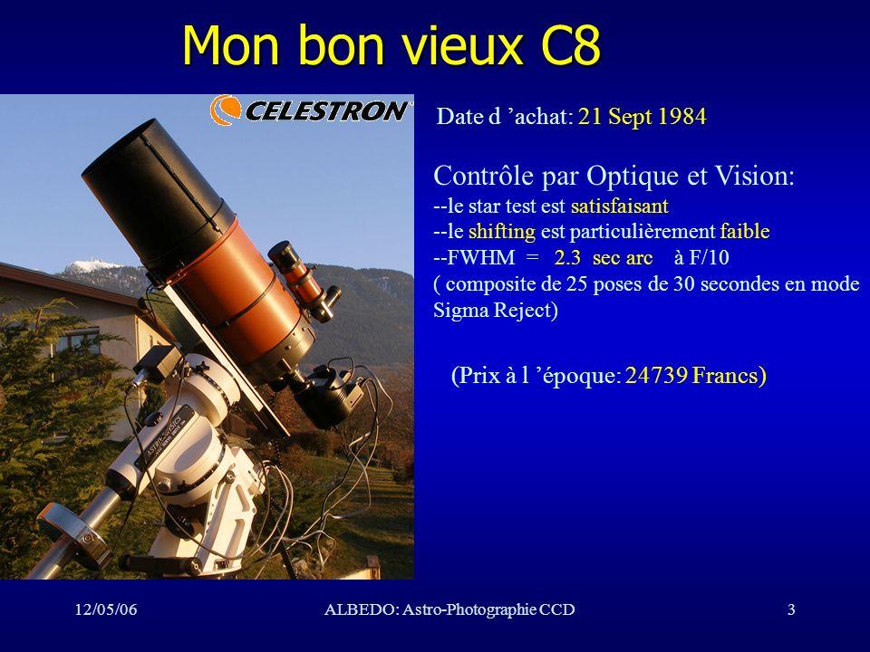 12/05/06ALBEDO: Astro-Photographie CCD3 Mon bon vieux C8 Date d achat: 21 Sept 1984 Contrôle par Optique et Vision: --le star test est satisfaisant --