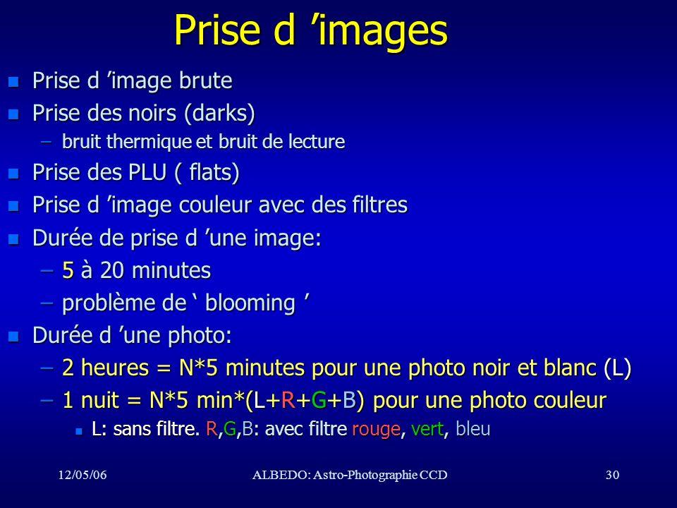 12/05/06ALBEDO: Astro-Photographie CCD30 Prise d images n Prise d image brute n Prise des noirs (darks) –bruit thermique et bruit de lecture n Prise d