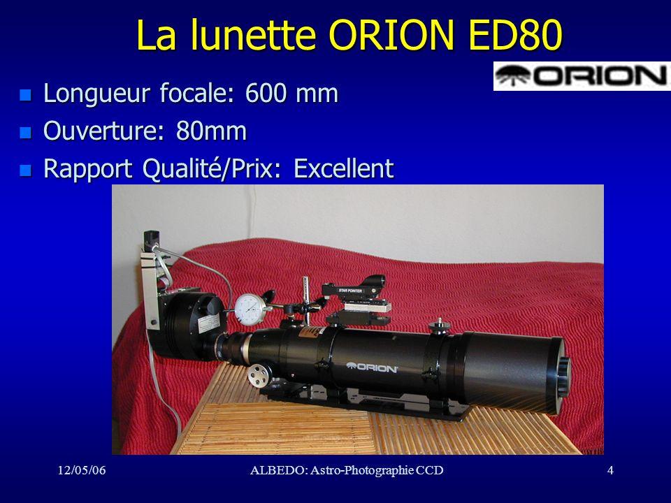 12/05/06ALBEDO: Astro-Photographie CCD5 Qualité de la ED80 n Diamètre du disque d Airy: – théorie: 2.5 à 4 sec arc n FWHM d une étoile: – mesurée: 5 à 8 sec arc