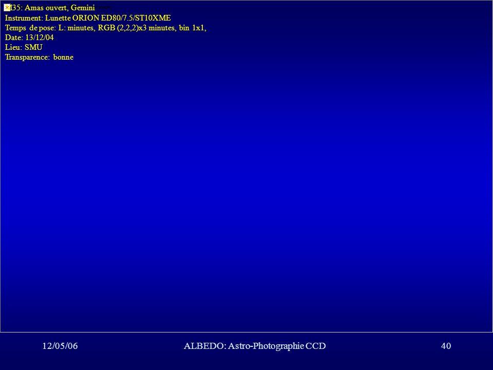 12/05/06ALBEDO: Astro-Photographie CCD40 M35: Amas ouvert, Gemini Instrument: Lunette ORION ED80/7.5/ST10XME Temps de pose: L: minutes, RGB (2,2,2)x3