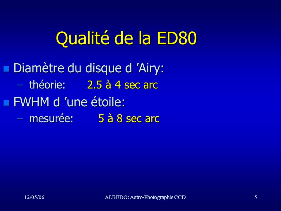 12/05/06ALBEDO: Astro-Photographie CCD16 Mise en station II