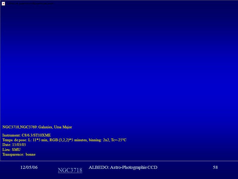 12/05/06ALBEDO: Astro-Photographie CCD58 NGC3718 NGC3718,NGC3769: Galaxies, Ursa Major Instrument: C8/6.3/ST10XME Temps de pose: L: 11*5 min, RGB (3,2