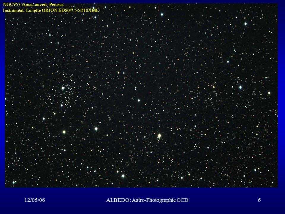 12/05/06ALBEDO: Astro-Photographie CCD27Focalisation n Tolérance T de positionnement de l élément mobile: –+/-2.5 µ pour un Schmidt-Cassegrain ( F/D=2!) –+/-20 µ pour une lunette ou un Newton de F/D=6 n Technique informatisée de masque à 4 trous: –perfectionnée par Stéphane Dumont –mesures de distance entre les 4 taches en fonction de la distance du plan focal et le plan du capteur CCD –régression linéaire position optimale du capteur CCD