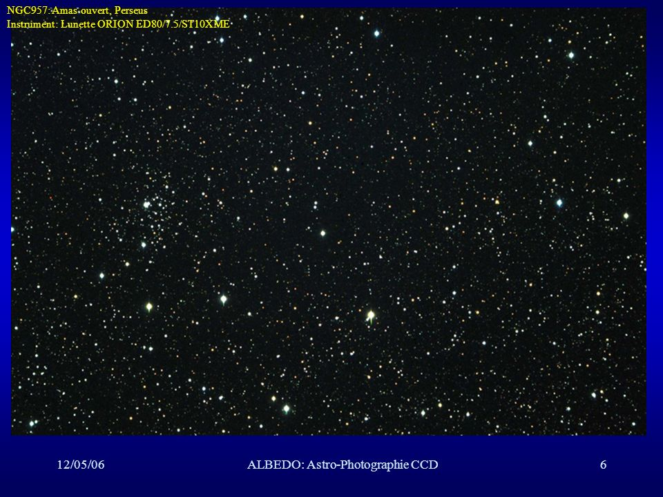 12/05/06ALBEDO: Astro-Photographie CCD47 NGC281NGC281, Cassiopeia NGC281: Nébuleuse, Cassiopeia, Instrument: C8/f6.3/ST10XME Temps de pose: L: 5x5 minutes, binning: 1x1, RGB 5x5 minutes, binning: 2x2, Date: 12/09/04 Lieu: SMU Transparence: moyen