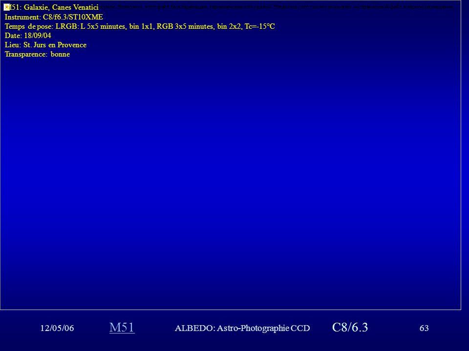 12/05/06ALBEDO: Astro-Photographie CCD63 M51C8/6.3 M51: Galaxie, Canes Venatici Instrument: C8/f6.3/ST10XME Temps de pose: LRGB: L 5x5 minutes, bin 1x