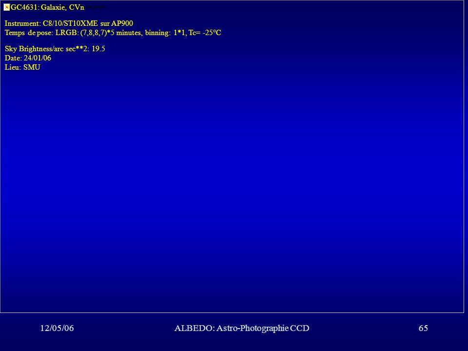 12/05/06ALBEDO: Astro-Photographie CCD65 NGC4631: Galaxie, CVn Instrument: C8/10/ST10XME sur AP900 Temps de pose: LRGB: (7,8,8,7)*5 minutes, binning:
