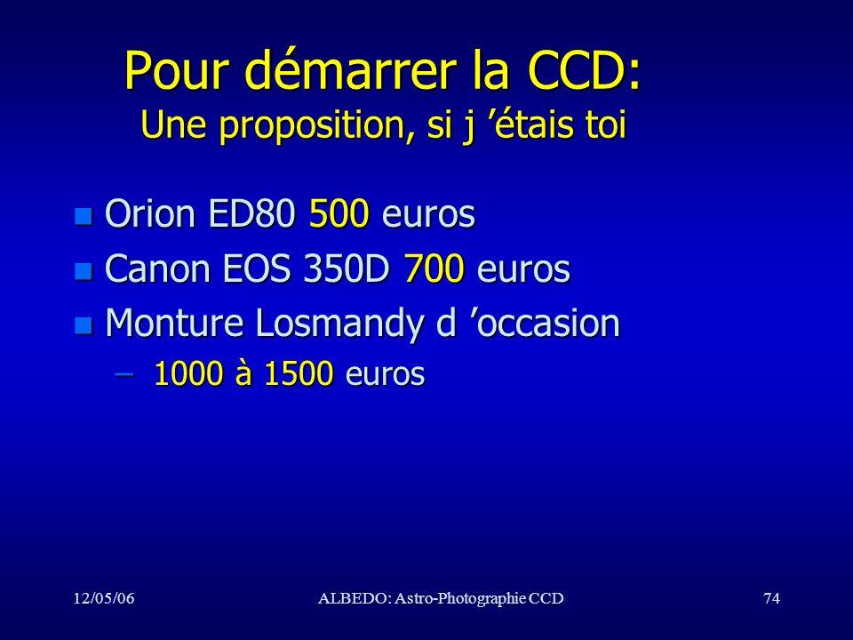 12/05/06ALBEDO: Astro-Photographie CCD74 Pour démarrer la CCD: Une proposition, si j étais toi n Orion ED80 500 euros n Canon EOS 350D 700 euros n Mon
