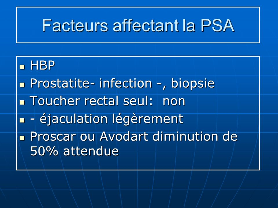 Facteurs affectant la PSA HBP HBP Prostatite- infection -, biopsie Prostatite- infection -, biopsie Toucher rectal seul: non Toucher rectal seul: non
