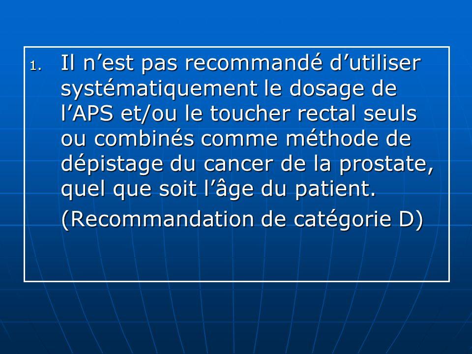 1. Il nest pas recommandé dutiliser systématiquement le dosage de lAPS et/ou le toucher rectal seuls ou combinés comme méthode de dépistage du cancer