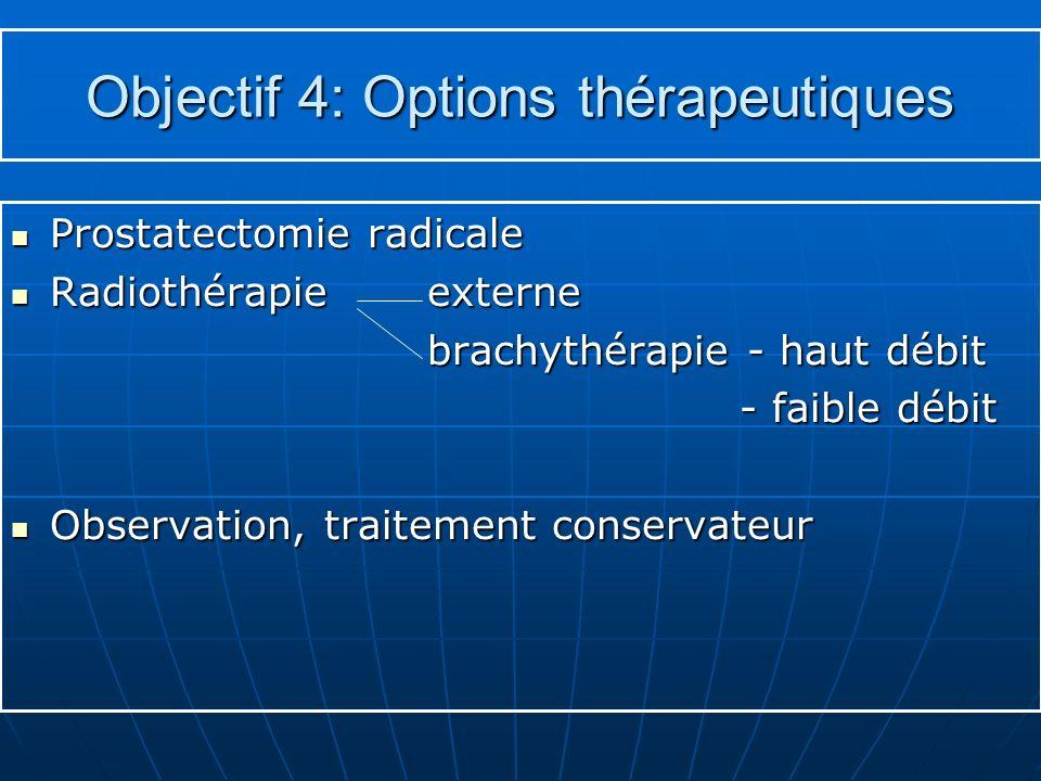 Objectif 4: Options thérapeutiques Prostatectomie radicale Prostatectomie radicale Radiothérapie externe Radiothérapie externe brachythérapie - haut d