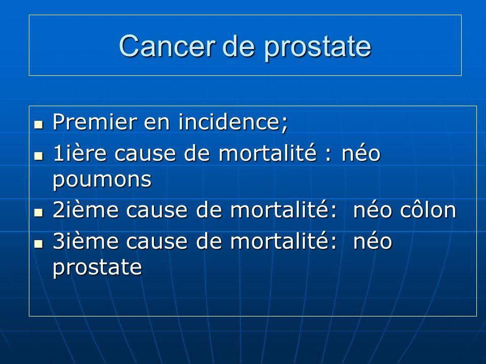 Cancer de prostate Premier en incidence; Premier en incidence; 1ière cause de mortalité : néo poumons 1ière cause de mortalité : néo poumons 2ième cau