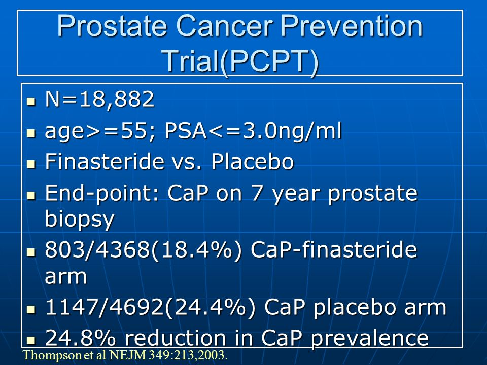 Thompson et al NEJM 349:213,2003. Prostate Cancer Prevention Trial(PCPT) N=18,882 N=18,882 age>=55; PSA =55; PSA<=3.0ng/ml Finasteride vs. Placebo Fin