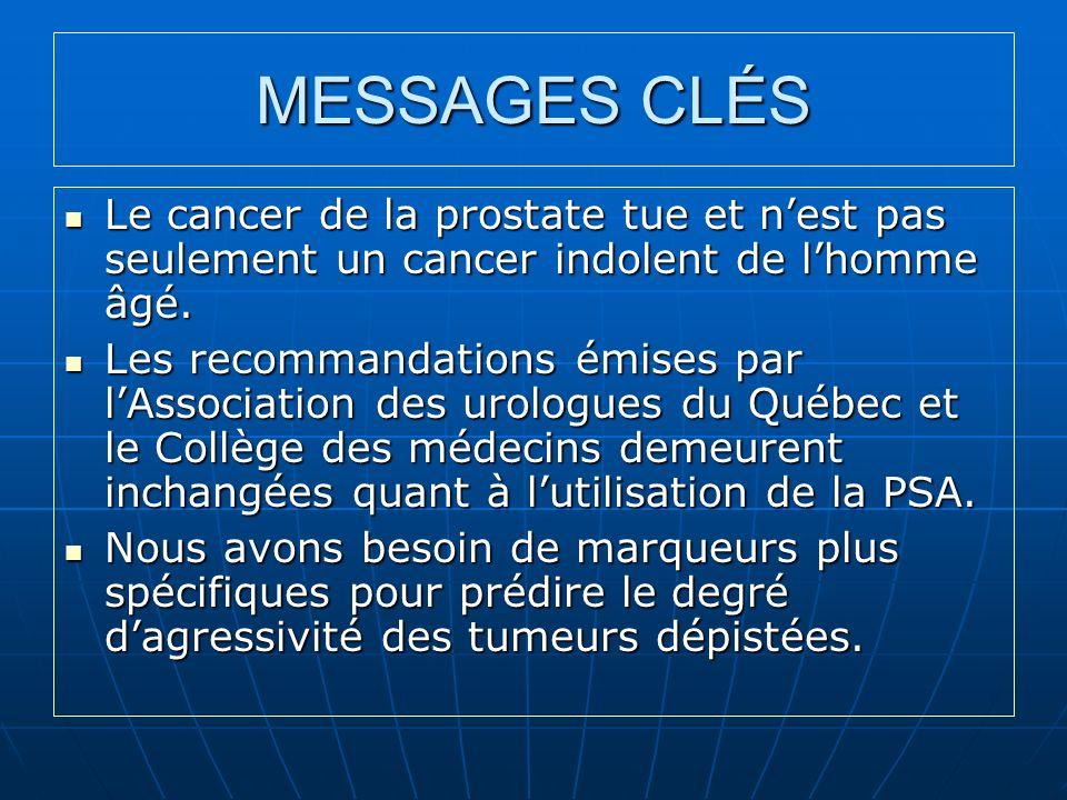 MESSAGES CLÉS Le cancer de la prostate tue et nest pas seulement un cancer indolent de lhomme âgé. Le cancer de la prostate tue et nest pas seulement