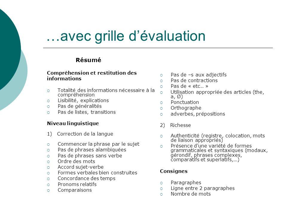 …avec grille dévaluation Résumé Compréhension et restitution des informations Totalité des informations nécessaire à la compréhension Lisibilité, expl