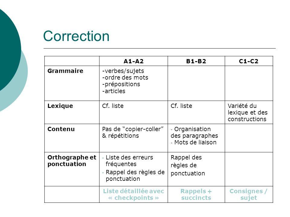 16 A1-A2B1-B2C1-C2 Grammaire-verbes/sujets -ordre des mots -prépositions -articles LexiqueCf. liste Variété du lexique et des constructions ContenuPas