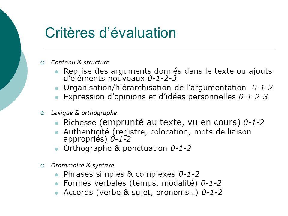 Critères dévaluation Contenu & structure Reprise des arguments donnés dans le texte ou ajouts déléments nouveaux 0-1-2-3 Organisation/hiérarchisation