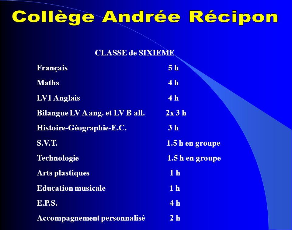 CLASSE de SIXIEME Français 5 h Maths 4 h LV1 Anglais 4 h Bilangue LV A ang. et LV B all. 2x 3 h Histoire-Géographie-E.C. 3 h S.V.T. 1.5 h en groupe Te