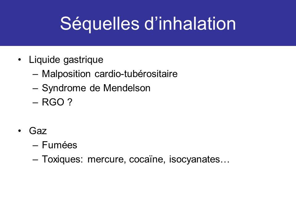 Séquelles dinhalation Liquide gastrique –Malposition cardio-tubérositaire –Syndrome de Mendelson –RGO ? Gaz –Fumées –Toxiques: mercure, cocaïne, isocy