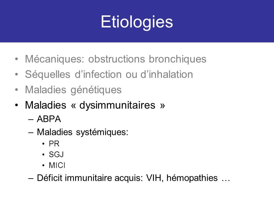 Etiologies Mécaniques: obstructions bronchiques Séquelles dinfection ou dinhalation Maladies génétiques Maladies « dysimmunitaires » –ABPA –Maladies s