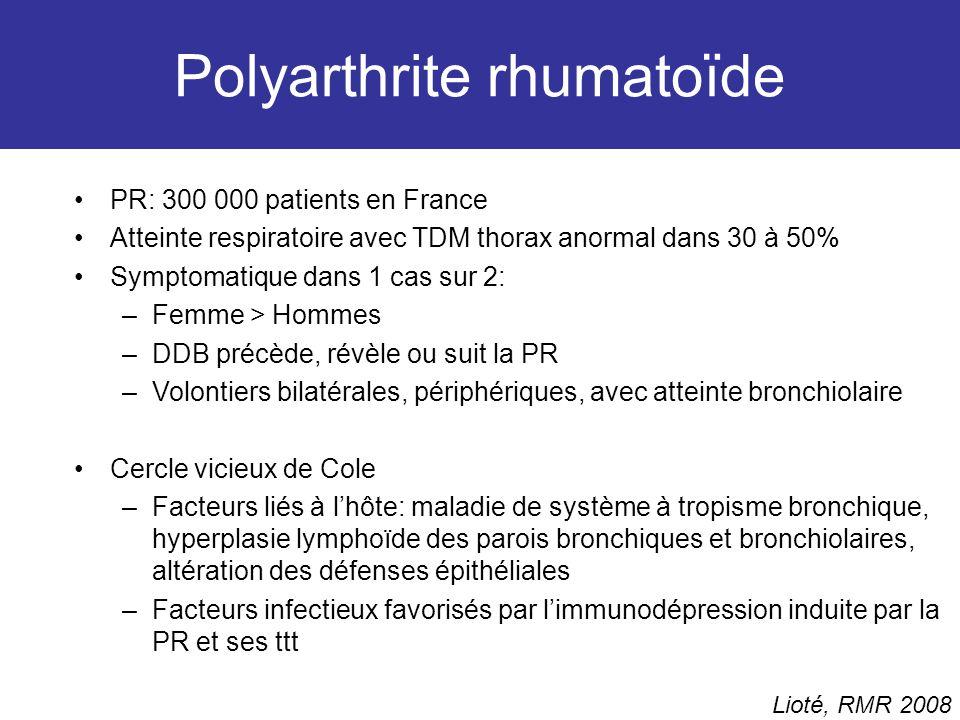 Polyarthrite rhumatoïde PR: 300 000 patients en France Atteinte respiratoire avec TDM thorax anormal dans 30 à 50% Symptomatique dans 1 cas sur 2: –Fe
