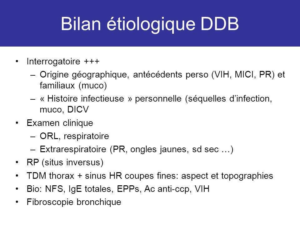 Bilan étiologique DDB Interrogatoire +++ –Origine géographique, antécédents perso (VIH, MICI, PR) et familiaux (muco) –« Histoire infectieuse » person