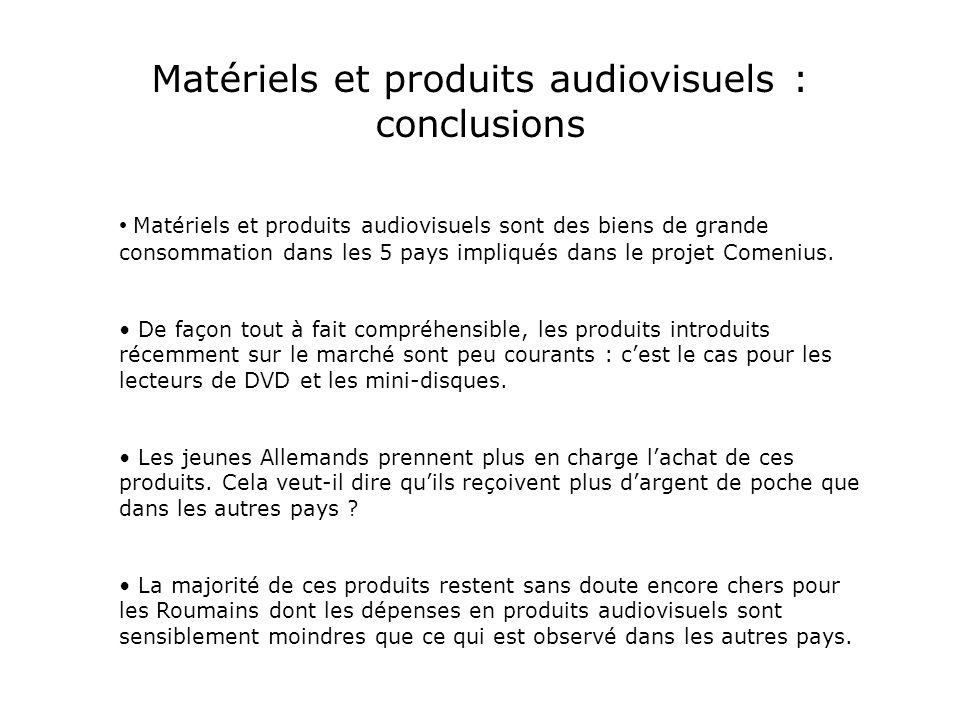 Matériels et produits audiovisuels sont des biens de grande consommation dans les 5 pays impliqués dans le projet Comenius.
