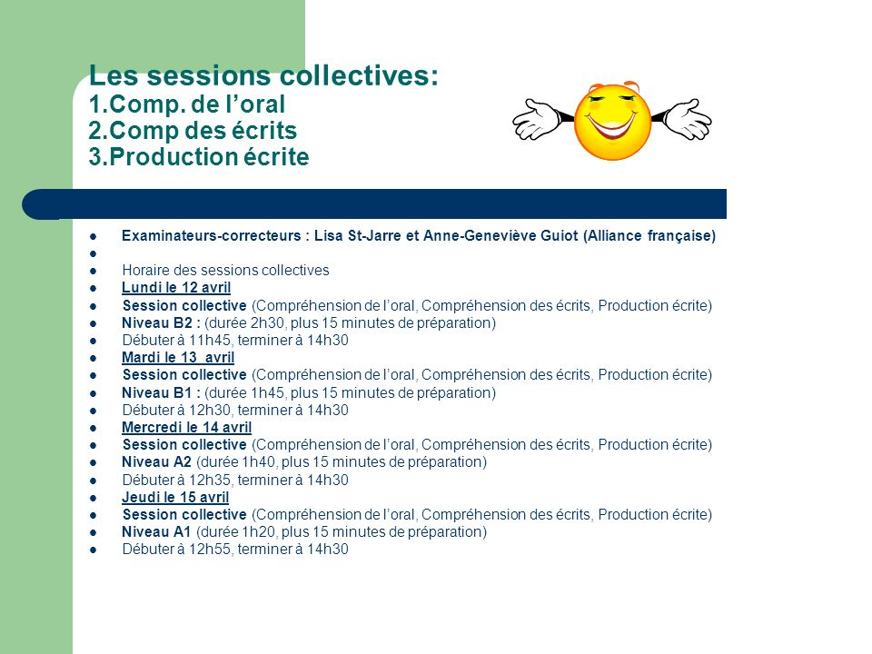 Les sessions collectives: 1.Comp.