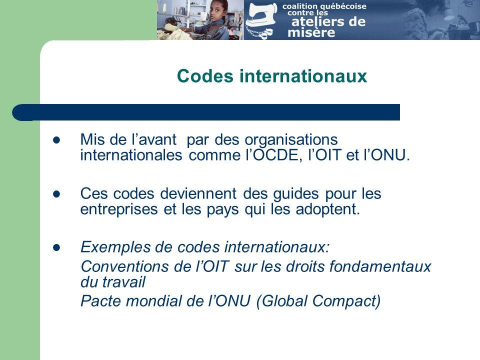 Codes internationaux Mis de lavant par des organisations internationales comme lOCDE, lOIT et lONU.