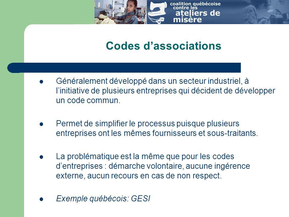 Codes dassociations Généralement développé dans un secteur industriel, à linitiative de plusieurs entreprises qui décident de développer un code commun.