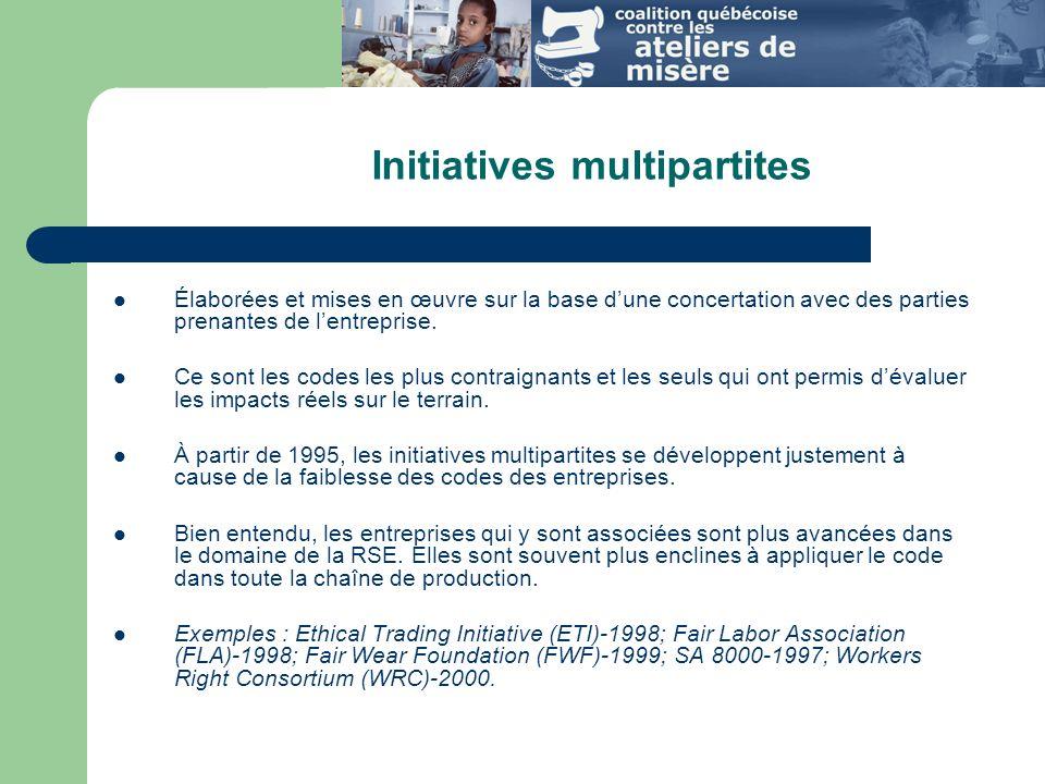 Initiatives multipartites Élaborées et mises en œuvre sur la base dune concertation avec des parties prenantes de lentreprise.