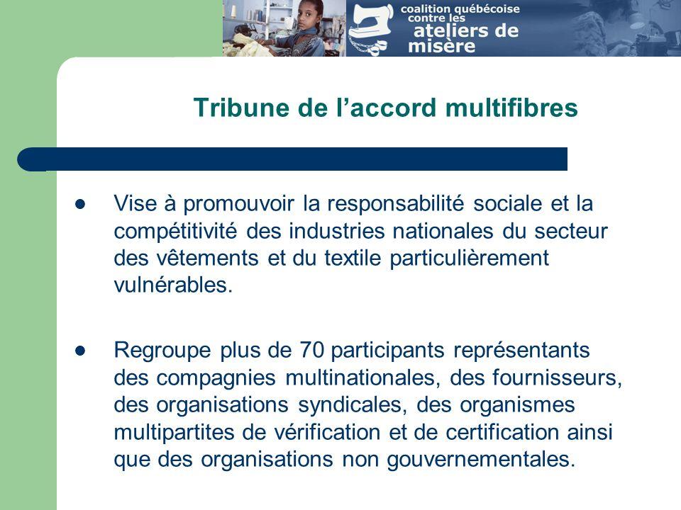Tribune de laccord multifibres Vise à promouvoir la responsabilité sociale et la compétitivité des industries nationales du secteur des vêtements et du textile particulièrement vulnérables.