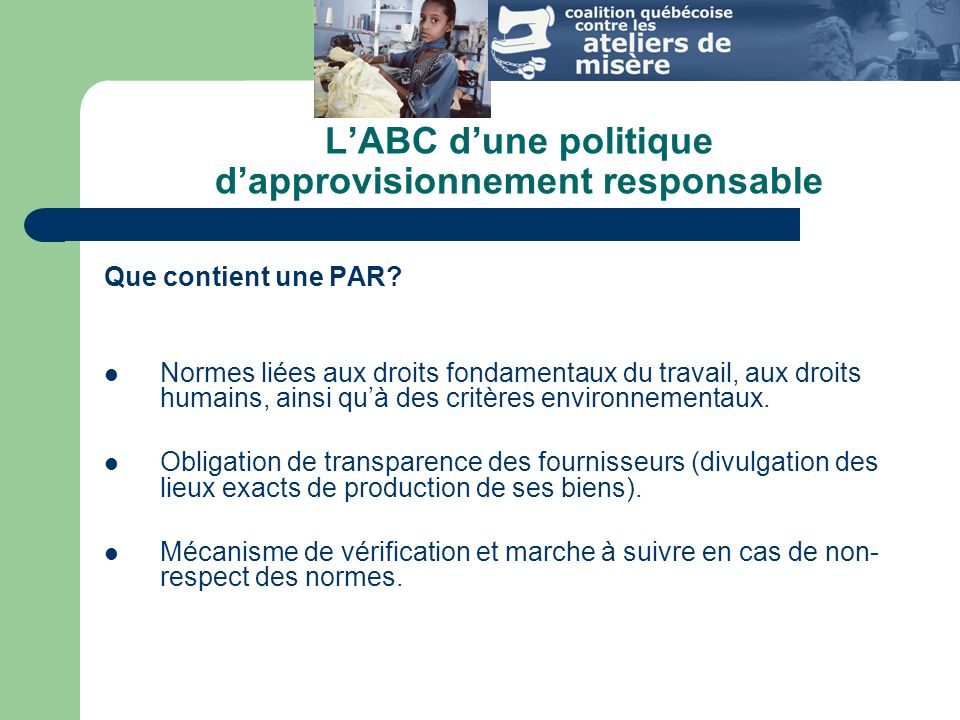 LABC dune politique dapprovisionnement responsable Que contient une PAR.
