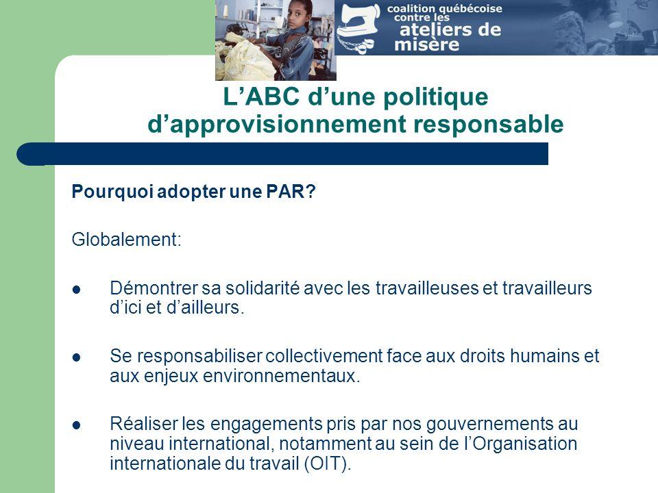 LABC dune politique dapprovisionnement responsable Pourquoi adopter une PAR.