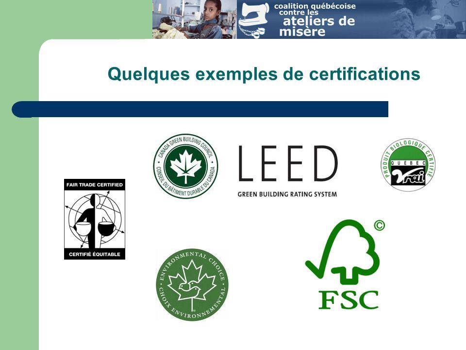 Quelques exemples de certifications