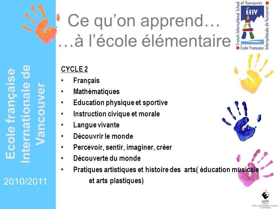 Ce quon apprend… …à lécole élémentaire CYCLE 2 Français Mathématiques Education physique et sportive Instruction civique et morale Langue vivante Déco
