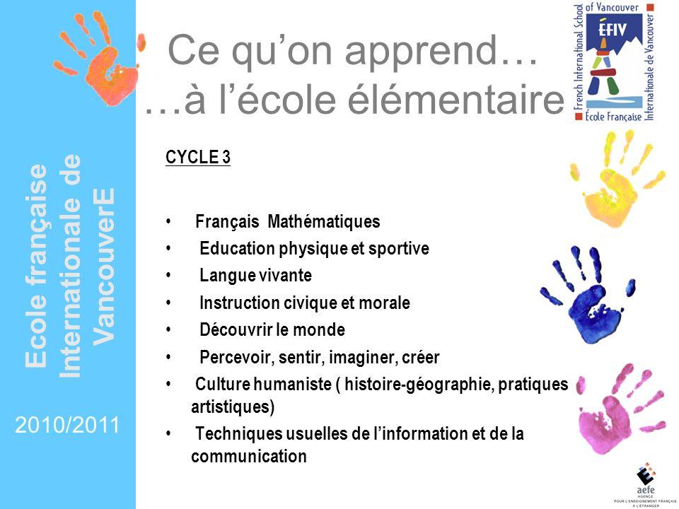 Ce quon apprend… …à lécole élémentaire CYCLE 3 Français Mathématiques Education physique et sportive Langue vivante Instruction civique et morale Déco