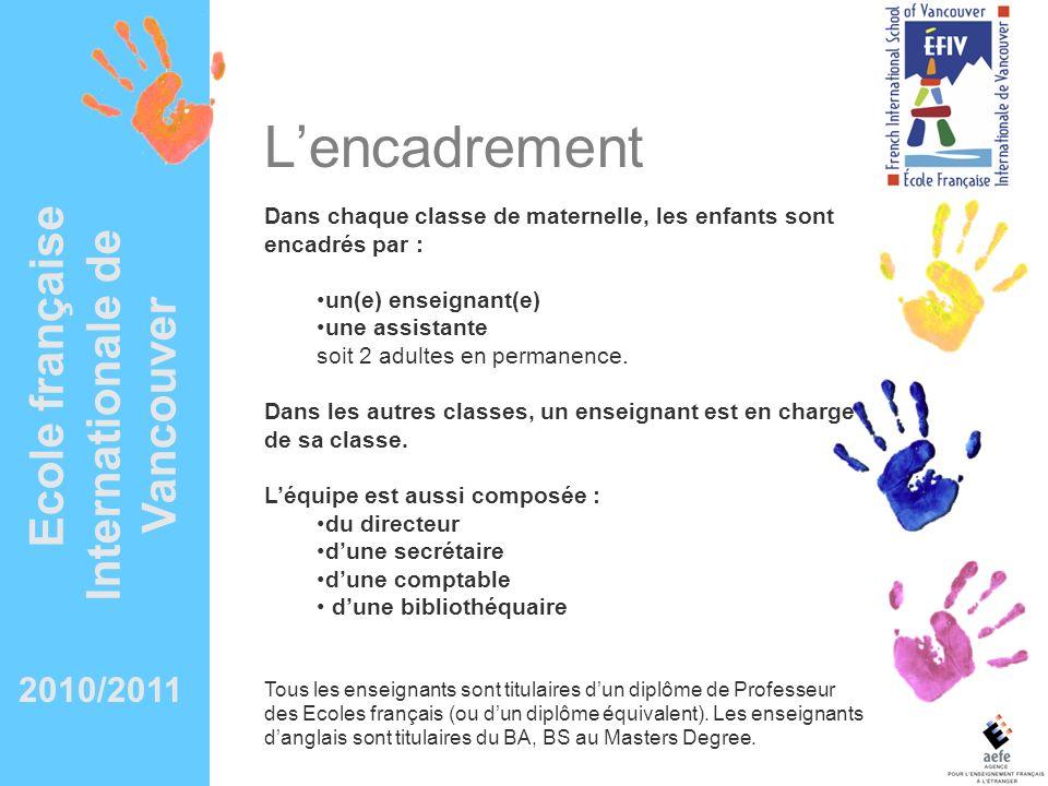 Ecole française Internationale de Vancouver Lencadrement Dans chaque classe de maternelle, les enfants sont encadrés par : un(e) enseignant(e) une ass