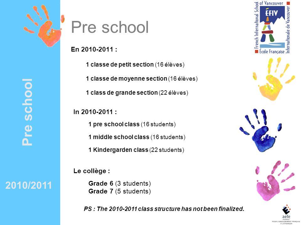 Pre school En 2010-2011 : 1 classe de petit section (16 élèves) 1 classe de moyenne section (16 élèves) 1 class de grande section (22 élèves) In 2010-