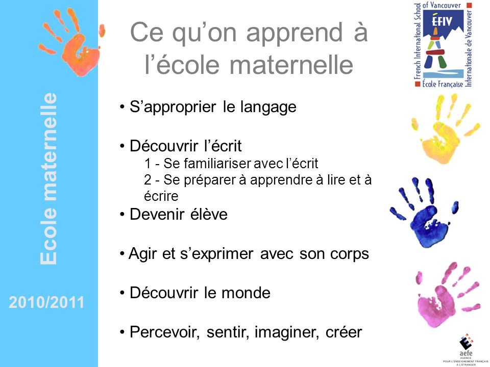2010/2011 Preschool What we learn in Maternelle Learning the language & discovering the written word 1 – Gaining a familiarity with writing and penmanship skills 2 – Learning vital pre-reading skills Becoming a student Learning motor skills Discovering the world First steps in Math, Science and Time & Space Perceiving, feeling, imagining, creating Music & Arts