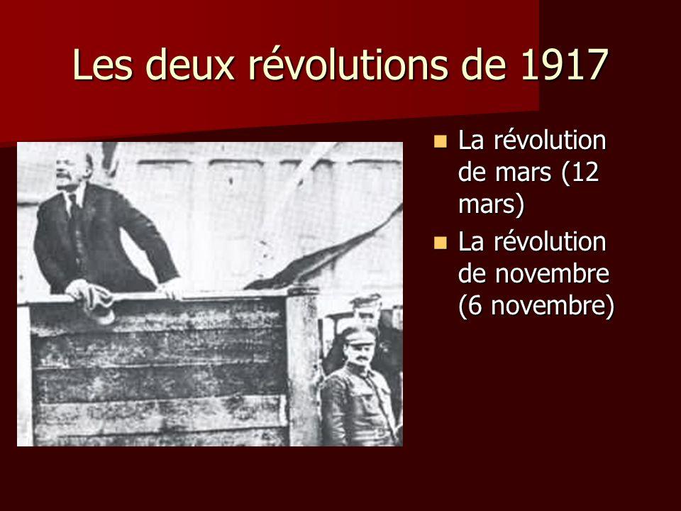 Les deux révolutions de 1917 La révolution de mars (12 mars) La révolution de mars (12 mars) La révolution de novembre (6 novembre) La révolution de n