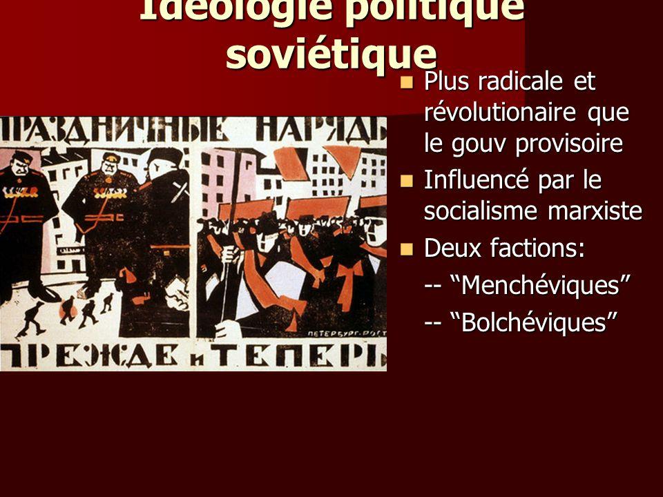 Idéologie politique soviétique Plus radicale et révolutionaire que le gouv provisoire Plus radicale et révolutionaire que le gouv provisoire Influencé