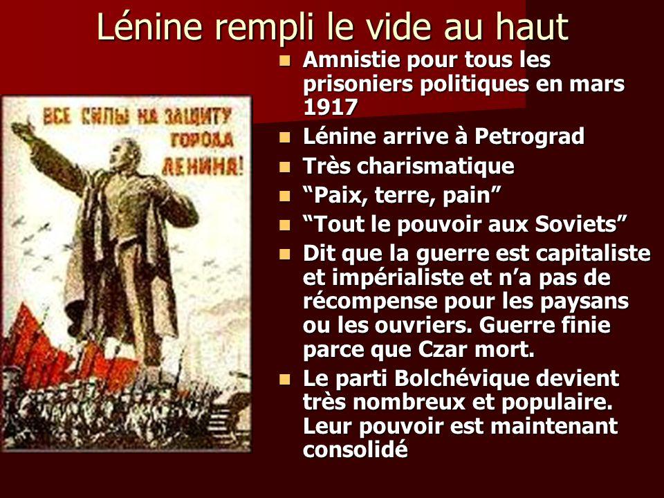 Lénine rempli le vide au haut Amnistie pour tous les prisoniers politiques en mars 1917 Amnistie pour tous les prisoniers politiques en mars 1917 Léni