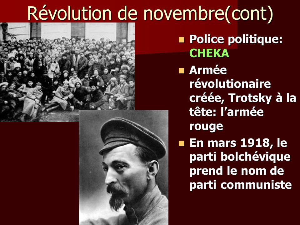 Révolution de novembre(cont) Police politique: CHEKA Police politique: CHEKA Armée révolutionaire créée, Trotsky à la tête: larmée rouge Armée révolut