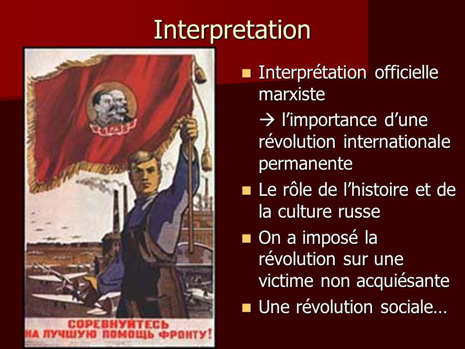 Interpretation Interprétation officielle marxiste Interprétation officielle marxiste limportance dune révolution internationale permanente limportance